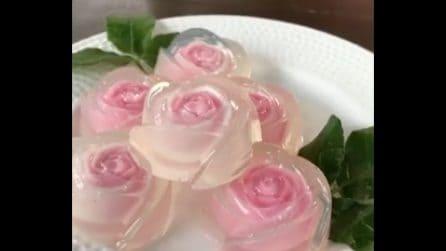 Crea delle roselline e le mette nella gelatina: l'idea originale per il dolce