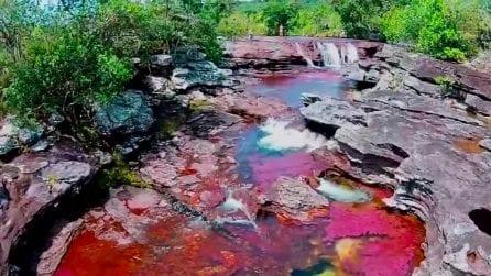 Sembra irreale ma questo posto fantastico esiste: il fiume colorato è in Colombia