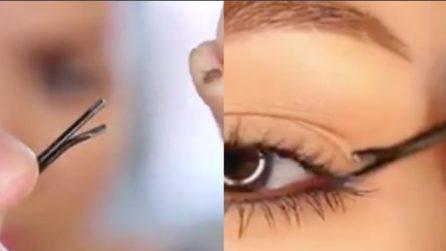 Usa una forcina per capelli e ottiene un eyeliner perfetto: ecco come fa