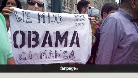 """Trump a Roma, manifestanti contestano il presidente e vengono bloccati: """"Ci manca Obama"""""""