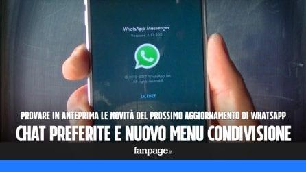 Chat preferite e nuovo menu per foto e video: come provare in anteprima le novità di WhatsApp