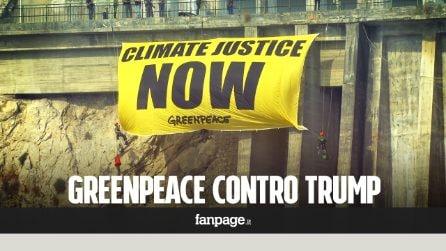 """G7, lo striscione di Greenpeace: """"L'America rispetti gli impegni sul clima"""""""
