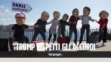 """G7 di Taormina, il flash mob contro i cambiamenti cliamatici: """"Trump rispetti gli accordi di Parigi"""""""