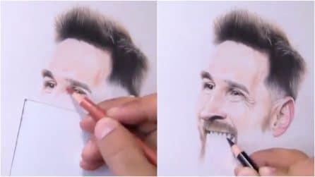 Traccia delle linee con i pastelli: il ritratto del campione sembra una fotografia