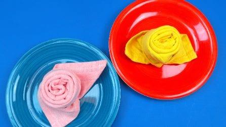 How to fold a cloth napkin into a rose