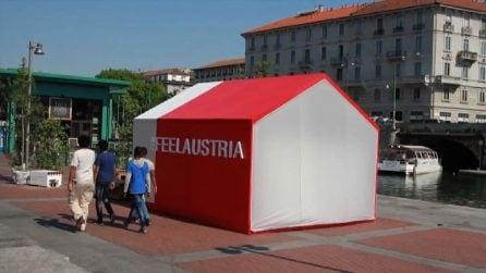 Milano, costruita casa di cartone sulla sponda della Darsena