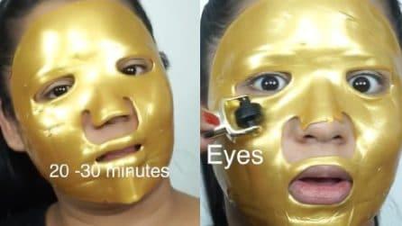 Pelle del viso liscia e morbida con la maschera di collagene