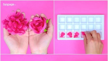 Petals into the ice cube tray: a special and romantic idea