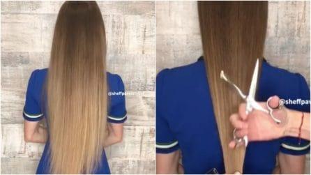 Decide di tagliare i suoi lunghissimi capelli: la trasformazione è fantastica