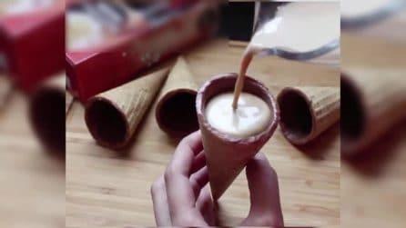 Cono con cioccolato e caffè: un modo speciale ber godersi una pausa