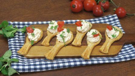 Cucchiaini di pasta sfoglia: l'antipasto semplice e originale!