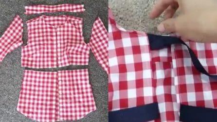 Fa a pezzi due vecchie camicie, poi aggiunge del nastrino: la fantastica trasformazione
