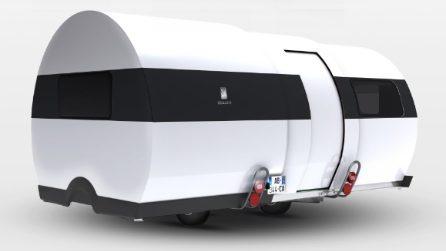 Si apre come un telescopio e puoi trasportarlo come una tenda, è la roulotte del futuro