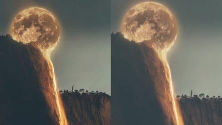 """La Luna si """"scioglie"""" nella cascata: l'animazione suggestiva finisce su Instagram"""