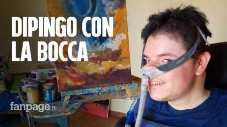 """Daniele Chiovaro, l'artista che dipinge le emozioni con la bocca: """"La vita è una cosa meravigliosa"""""""