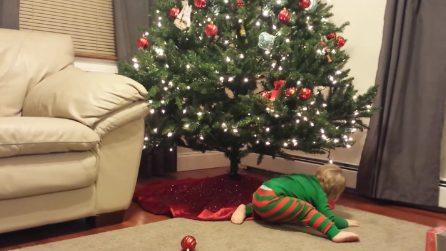 """Per la prima volta decora l'albero di Natale: ma il tenero bimbo """"litiga"""" con le palline"""