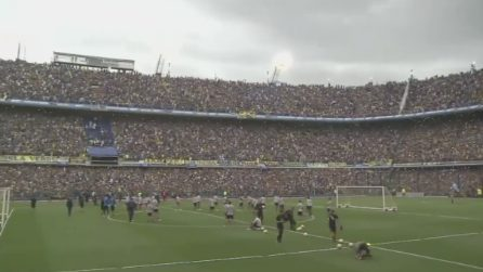 Lo stadio pieno di tifosi per l'allenamento del Boca: oltre 50 mila nella Bombonera