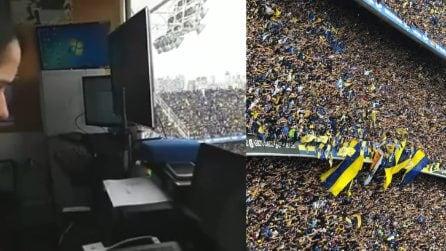 """La Bombonera, la tribuna stampa trema: """"Non è un terremoto, è la gente"""""""
