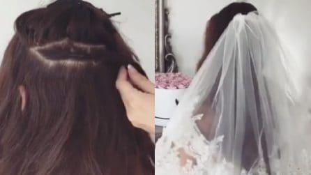 La pettinatura adatta per fissare il velo da sposa