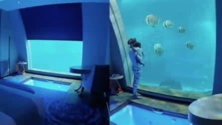 La suite da sogno nell'hotel: quando si alza il pannello appare un meraviglioso acquario in camera