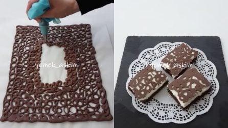 Ricopre la torta con una cialda al cioccolato: un'idea originale per un dessert unico