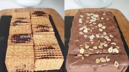 Torta di biscotti con crema di cioccolato: la ricetta golosa pronta in pochi minuti