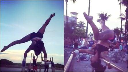 Acrobazie mozzafiato al parco: la ballerina lascia i passanti a bocca aperta