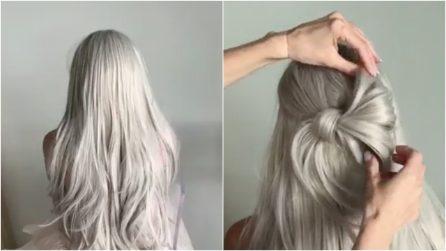 Tinge i capelli di grigio poi crea un'acconciatura elegantissima: il risultato è spettacolare