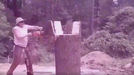 Lavora un grosso tronco di legno: la scultura finale è straordinaria