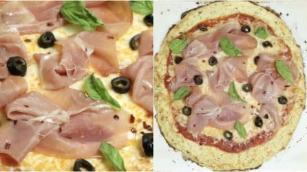Prosciutto, Olive, and Basil Cauliflower Pizza: your dinner guests will really enjoy this tasty dish