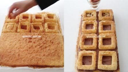 Ricava dei quadrati dalla torta: un'ottima idea per rendere originale il dessert