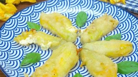 Fiori di zucca ripieni: ecco come fare la pastella con una bottiglia!