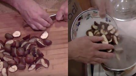 Taglia a metà le castagne e le mette a bollire: la buccia verrà via in un attimo