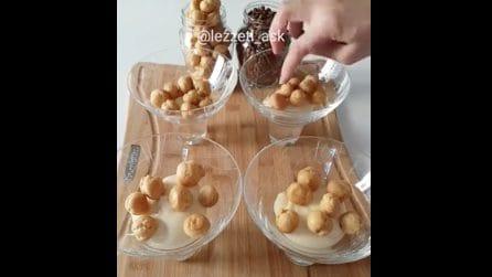 Mini bignè sul fondo del bicchiere: un dessert goloso e originale