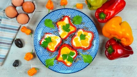 Pepper flowers with egg: a tasty and colorful recipe