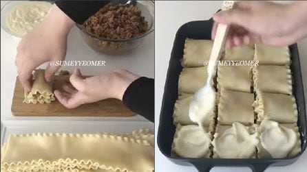 Arrotola la lasagna e la ricopre di besciamella: un primo piatto da leccarsi i baffi