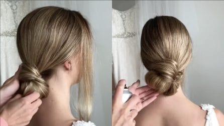 Avvolge i capelli e realizza un'elegante acconciatura da sposa