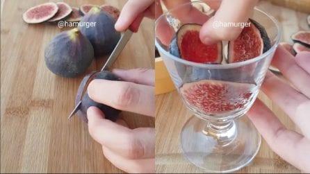 Taglia i fichi e li mette ai lati del bicchiere: un'idea originale e gustosa
