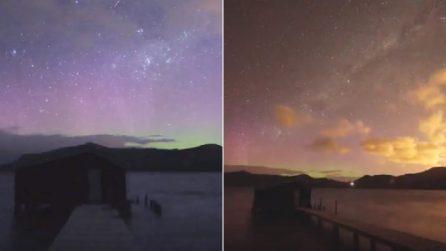 La magia di colori dell'aurora australe: spettacolare timelapse in Nuova Zelanda
