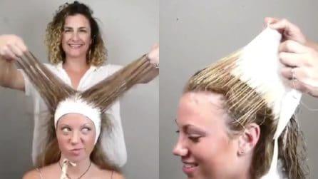 Tira la cuffia dai capelli e il risultato è davvero stupendo