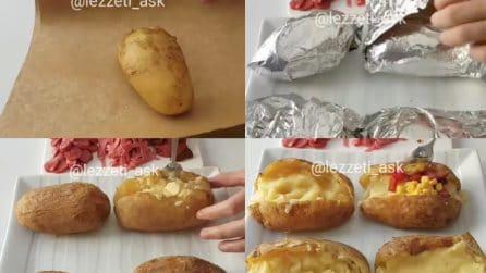 Avvolge le patate nella carta alluminio e poi le farcisce in un modo gustoso