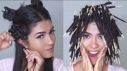 Avvolge i capelli agli stuzzicadenti: l'effetto finale è fantastico