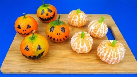 Tangerine Pumpkins for Halloween: a quick and funny idea