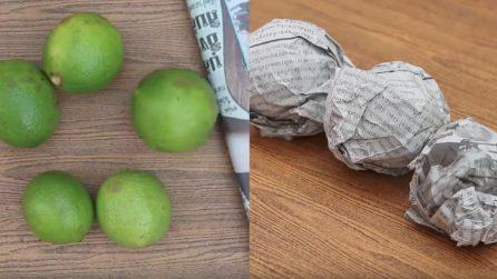 Come mantenere i limoni freschi usando dei fogli di giornale