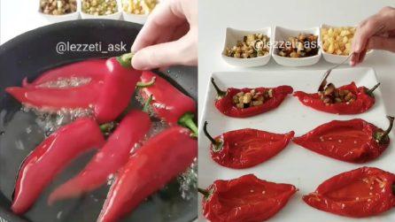 Frigge i peperoni e li farcisce: un contorno ricco e saporito