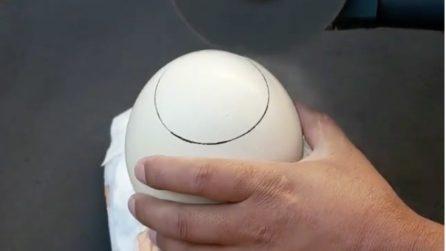 Apre l'uovo di struzzo e fa qualcosa di incredibile