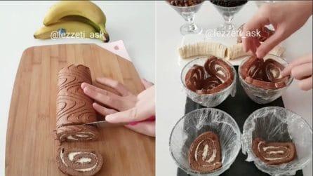 Taglia il rotolo e lo posiziona nella ciotola: un dolce originale e gustoso