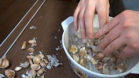 Mette l'aglio nell'acqua: un trucchetto davvero utile