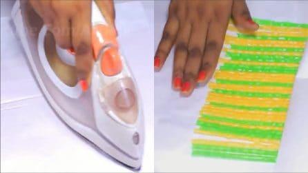 Passa il ferro da stiro sulle cannucce colorate: realizza un fantastico oggetto da donna
