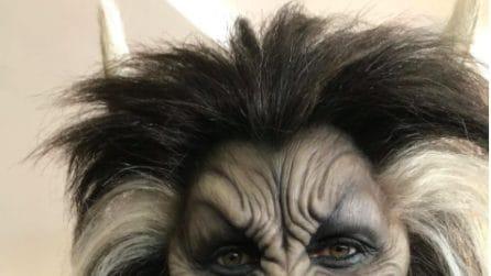 La trasformazione di Heidi Klum in lupo mannaro per Halloween